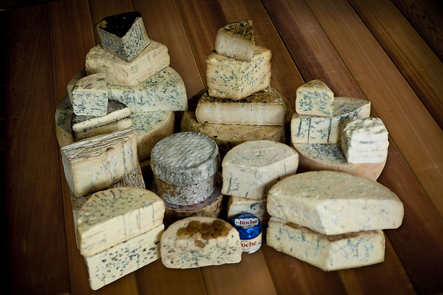 A large selection of blue cheese from Australia, Italy, France, Spain, USA, Ireland & UK