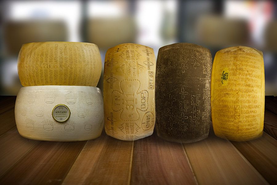 An excellent selection of Grana Padano & Parmigiano Reggiano. Selected in certain regions during spring & autumn when milk quality is at its best.