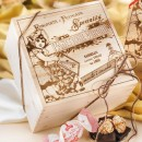 Amaretti Virginia Panettone with Amaretti and Chocolate Chips in Wooden Gift Box