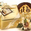 Amaretti Virginia Panettone with Chocolate Cream Filling and Icing in Gold Gift Box